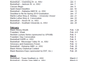 A Look Ahead: Upcoming Dates for 2019 | Alabama State University