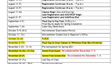 Academic Calendars   Southern University at New Orleans