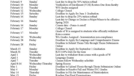 Brooklyn College Calendar with Holidays Printable https ...