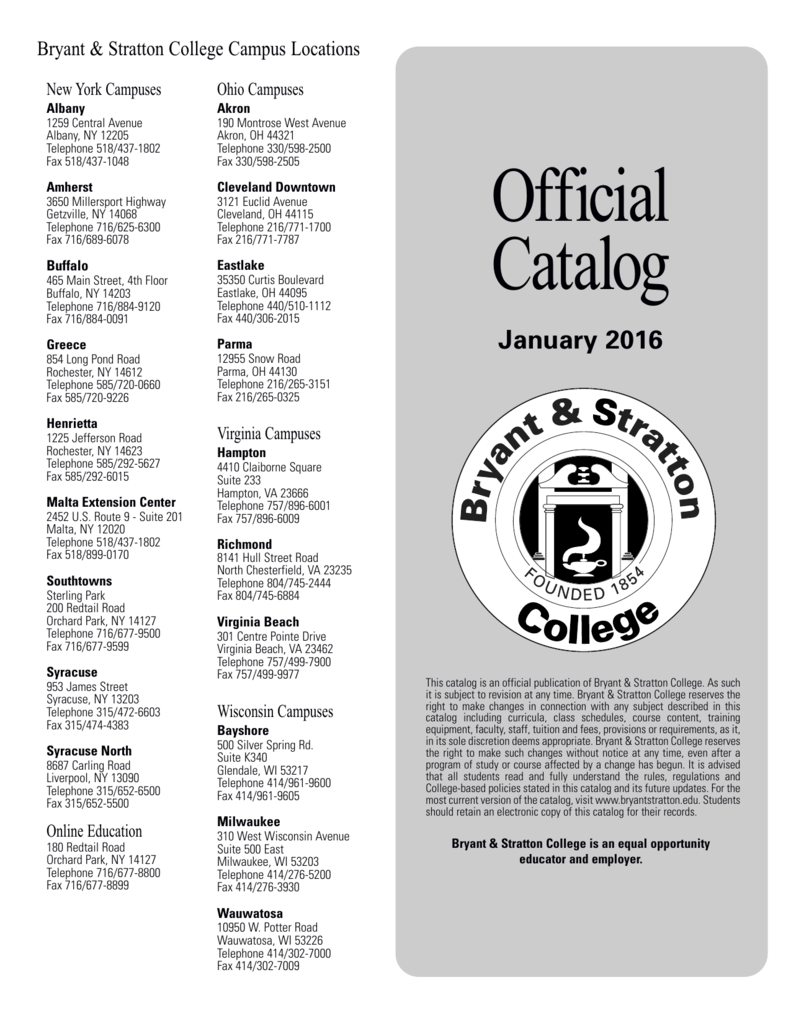 Official Catalog - Bryant & Stratton College