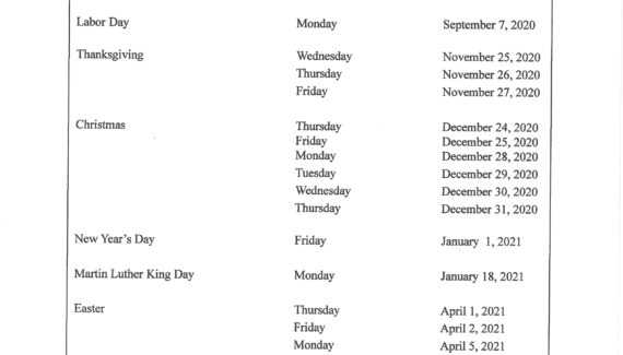 Holiday Calendar - Dominican College