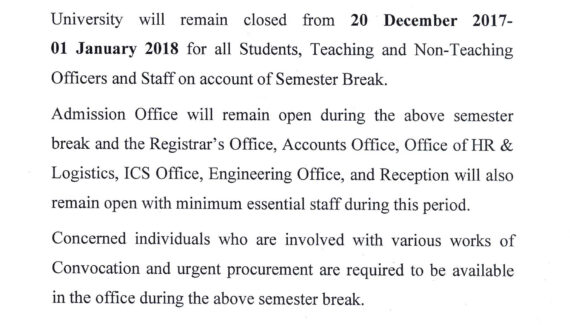 Holiday on account of Semester Break | East West University