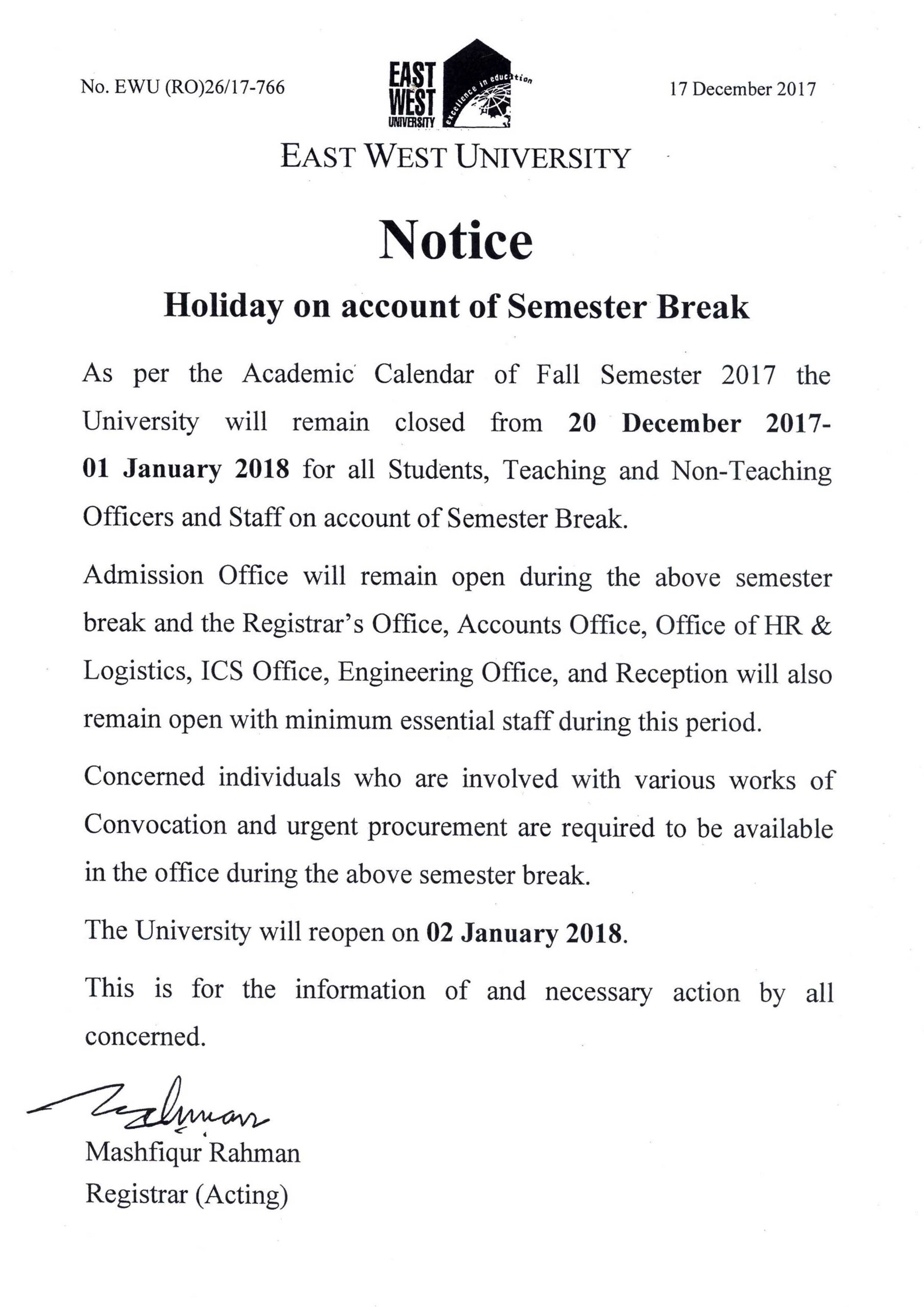 Holiday on account of Semester Break   East West University