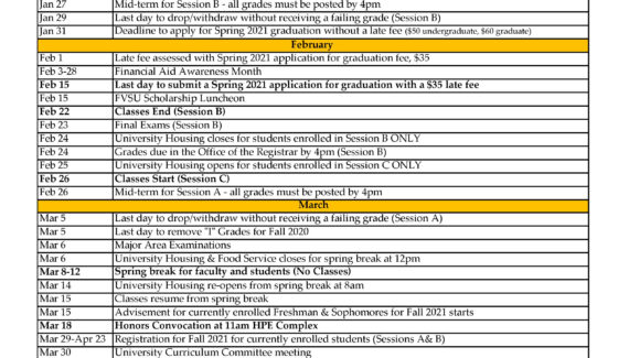 Academic Calendar - Fort Valley State University - Acalog ACMS™