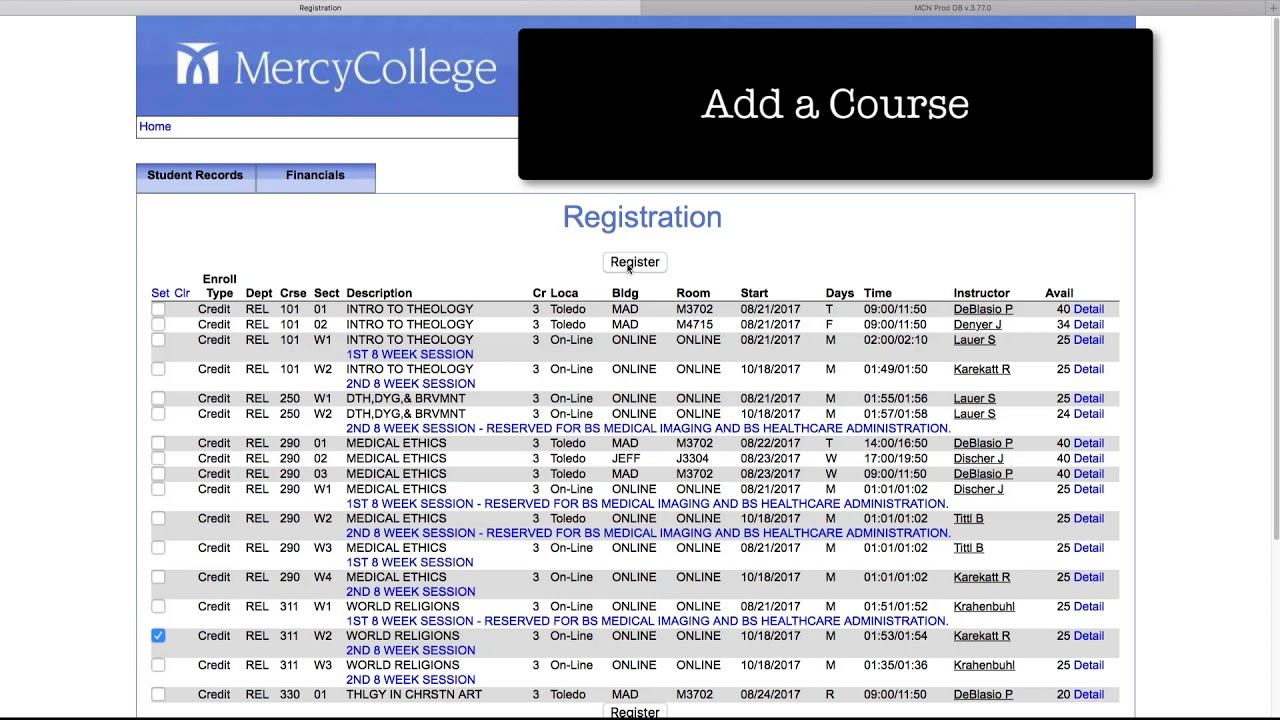Registering For Classes | Mercy College
