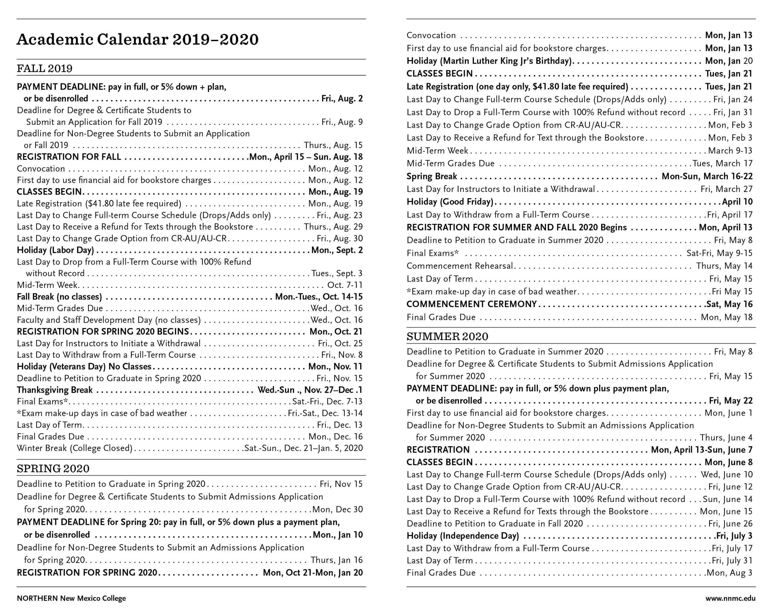 Academic Calendar 2019-20 | Northern New Mexico College