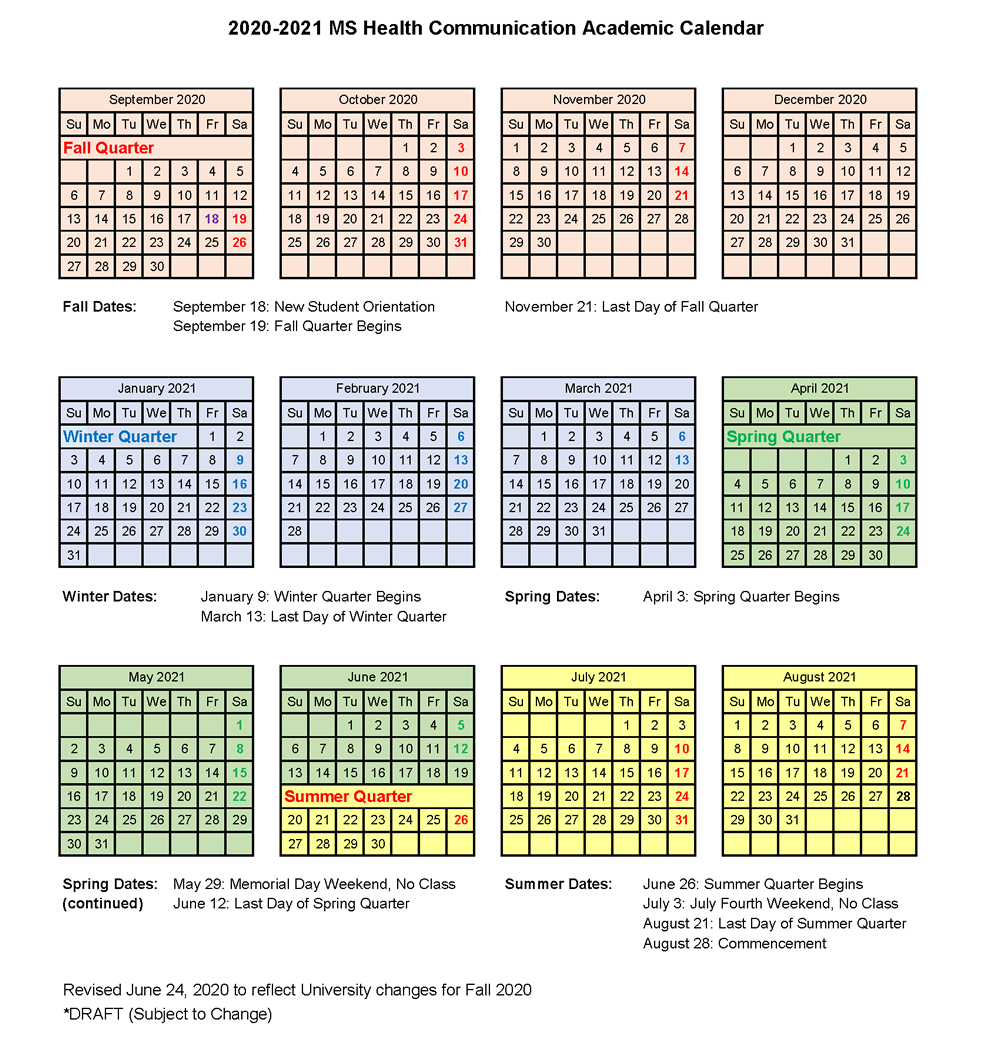 Academic Calendar – Master of Science in Health Communication