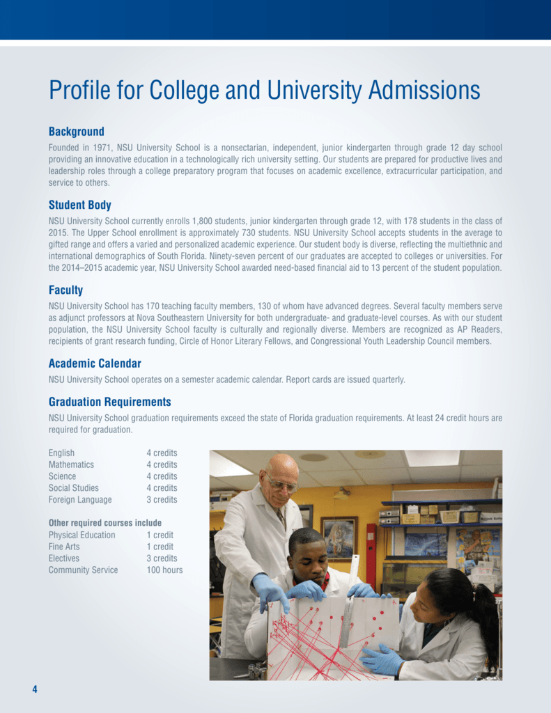 Profile for College and University Admissions