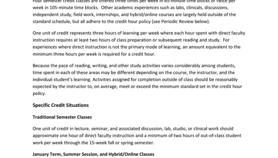 Credit Hour Policy - Pacific Lutheran University