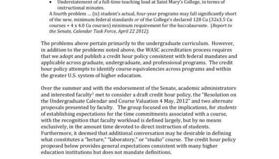 Saint Mary`s College of California Credit Hour Policy and ...