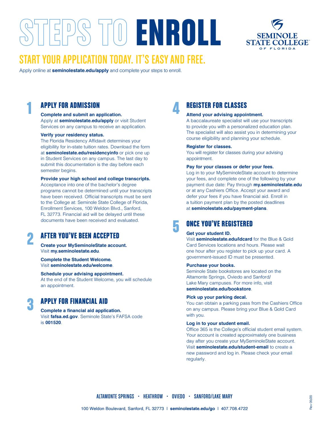 Steps to Enroll Info Sheet by Seminole State College of ...