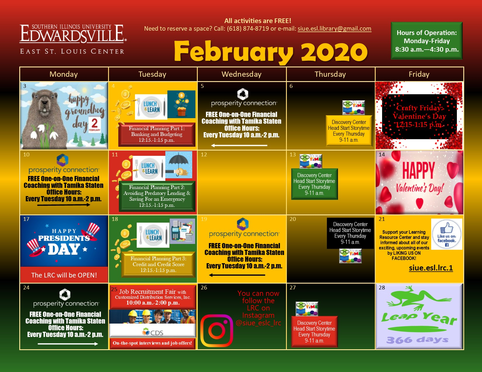 East St. Louis Learning Resource Center - Calendar of Events ...
