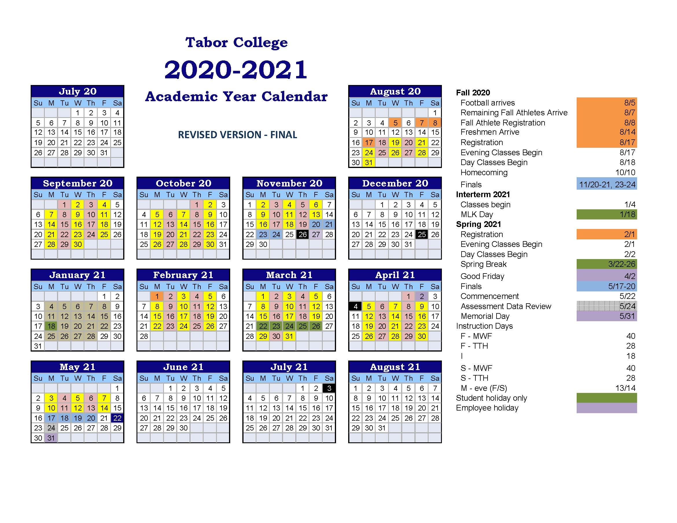 Tabor College Announces Fall Semester Adjusted Schedule ...