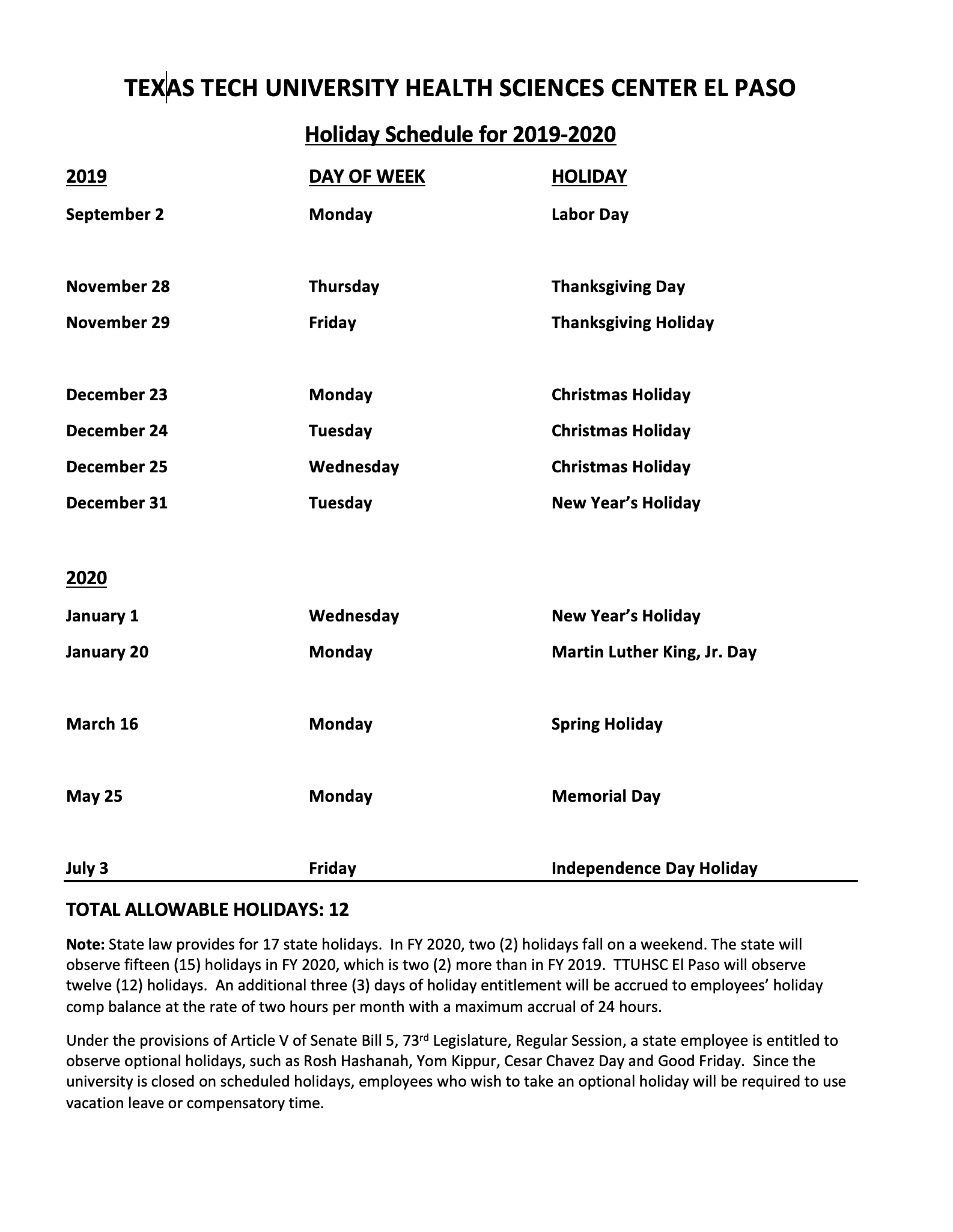 Holiday Schedule for 2019-2020