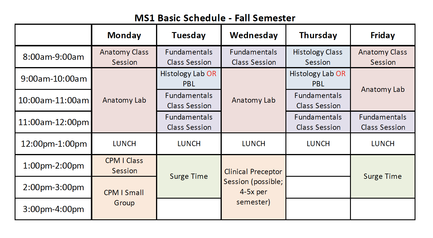 Fall Schedule - Jacobs School of Medicine and Biomedical ...